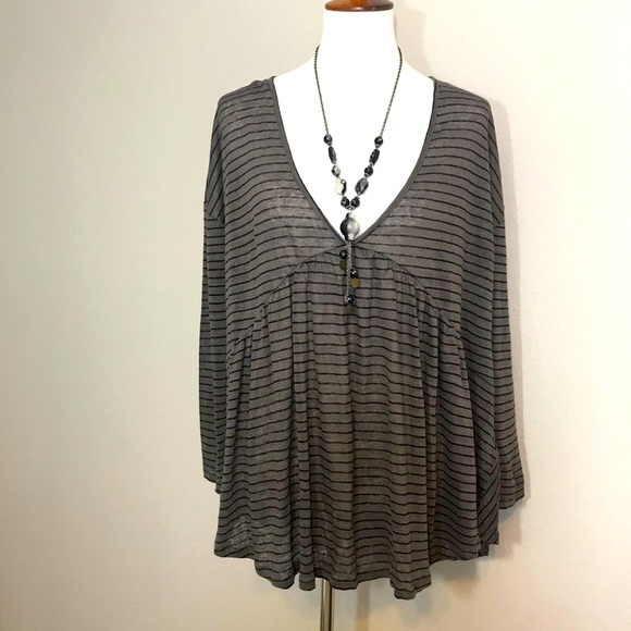 NWT LUCKY BRAND Linen Striped Babydoll Top Size XL